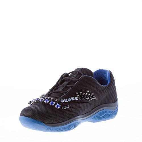 Beads Shoes Sneaker Black Crystals Colored Women America's Prada Cup and Nylon Black BxRwv1Aq