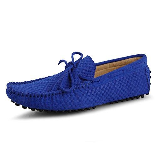 Go Tour Heren Mocassin Loafers Casual Suède Lederen Rijschoenen Comfortabele Slip-on Kwastje Loafer B-blue