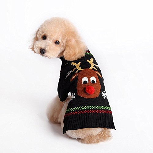 Kuoser Holiday Christmas Classic Cartoon Reindeer Dog Sweater Knitwear for Cold Weather Small Medium sized dog winter Coat Costume ( XS-XXL ),Reindeer XL (20's Costumes London)