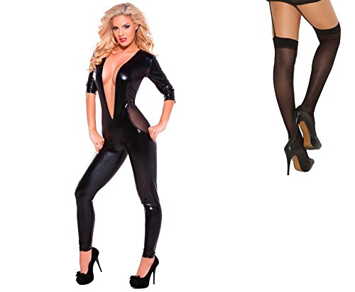 Bundle 2 Items Allure Mesh Catsuit Low Cut Front Black O//S and Sheer Thigh M25B