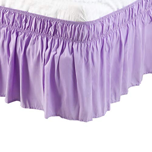 - PiccoCasa PiccoCasa Detachable Bed Skirt Wrap Around Three Fabric Sides Elastic Dust Ruffle, Easy Fit Wrinkle - with 15 Inch Drop Light Purple, Twin Size(75-Inch-by-39-Inch)