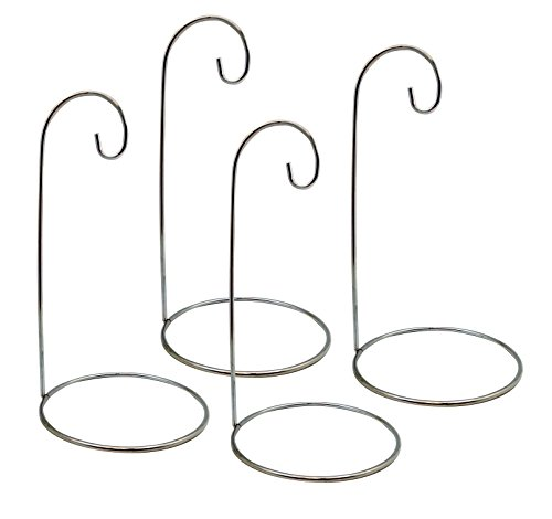 Design Plant Stand - BANBERRY DESIGNS Ornament Stands - Set of 4 Silver Christmas Holders - Chrome Finished Metal 9-Inch Tall - Air Plant Terrarium - Christmas Ornament Collection Display