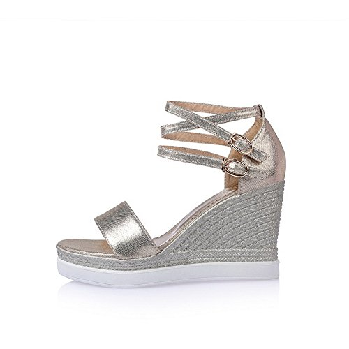 Gold Women's Platforms Heels Open Buckle Wedges High Soft Toe amp; Material Solid WeenFashion f17UnRU