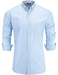Men's 100% Cotton Slim Fit Long Sleeve Button-Down Oxford Dress Shirt