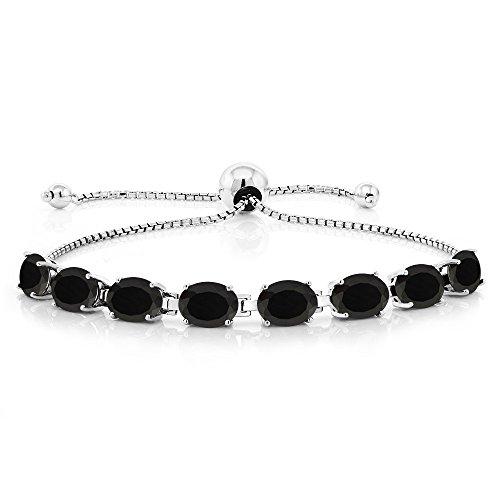 - Gem Stone King 925 Sterling Silver Oval Black Onyx Adjustable Tennis Bracelet 10.00 Ctw Gemstone Birthstone