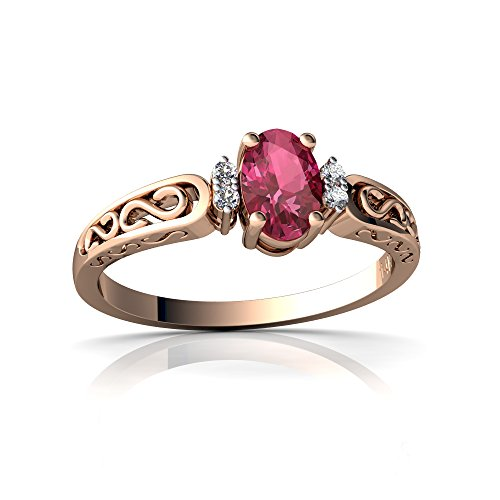 14kt Rose Gold Pink Tourmaline and Diamond 6x4mm Oval filligree Scroll Ring - Size 9