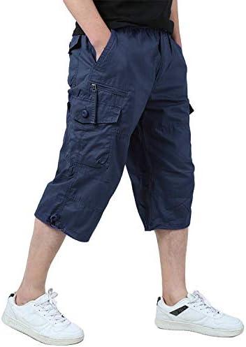 [スポンサー プロダクト]KEFITEVD カーゴパンツ メンズ 7分丈 ミリタリー 半ズボン カジュアル 無地 コットン ズボン ゆったり 春夏秋