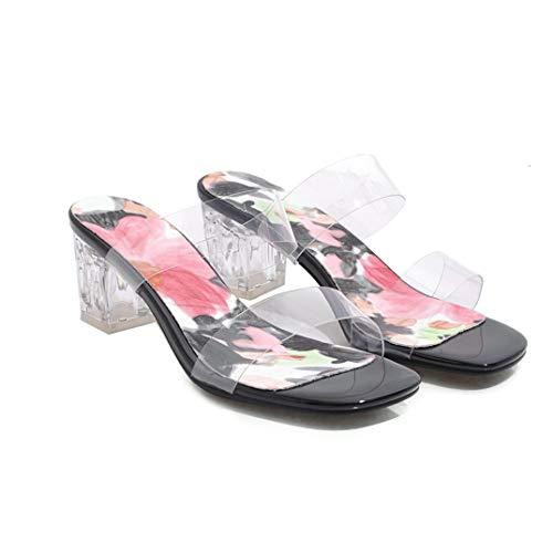 KKONION Women's PVC Jelly Wedge Slippers Sandals Open Toe Square Heel Transparent High Heels Shoes Black