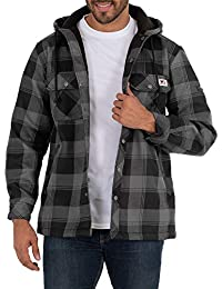 Men's Flannel Bonded Shirt Jacket with Hoodie