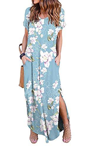 (Silvous Casual Maxi Dress Short Sleeve Split Floral Print Long Dress (Peony S))