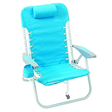 Rio Brands Lace Up Aluminum Backpack Chair, Turquoise