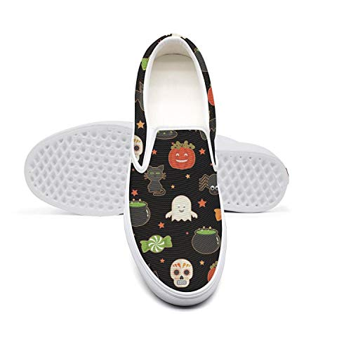 Halloween Candy Skull cat Pumpkin Black Unisex Shoes White Slip ons Skateboard Popular -
