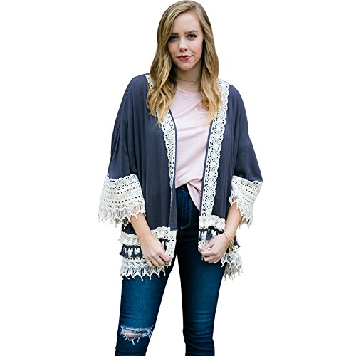 (Weavers Women Vintage Retro Boho Hippie Lace Casual Open Front Top Kimono Coat Cape Blazer Cardigan Grey)