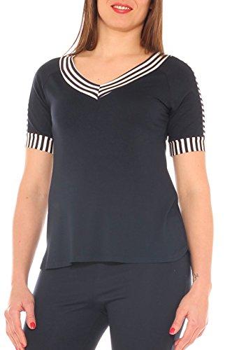 fantasia Notte con Maglia inserto in Moda morbida taglia jersey donna d'autore Blu cw07PXqTR