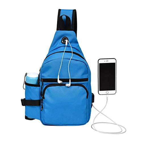 With Blue Canvas Unisex Crossbody Shoulder Men Chest Single Female Usb Casual Pack Port Strap Travel Bag Zx4nZqwd