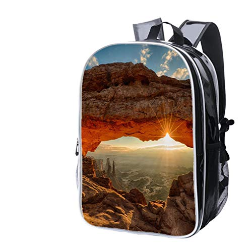 High-end Custom Laptop Backpack-Leisure Travel Backpack Mesa Arch Dawn Sunburst Water Resistant-Anti Theft - Durable -Ultralight- Classic-School-Black