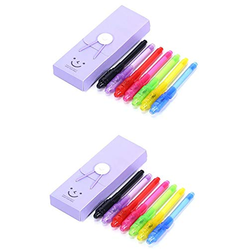 Arctic Fish 14 Pack Invisible Disappearing Ink Pen Marker Secret Spy Kids Message Writer with LED UV Light Fun for Party Favors Ideas Gifts Stocking Stuffers(7 Colors, 14 Pack) (Secret Message Ink Pen)
