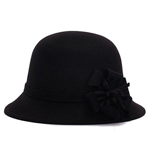 Academyus Women Girls Fashion Autumn Winter Flower Bowler Hat Top Hat Felt Cap Floppy (Felt Top Female Hat)
