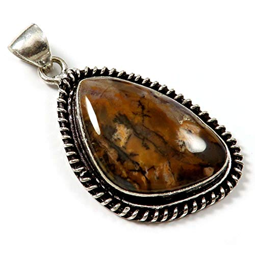 GoyalCrafts Honey Dendritic Agate Pendant Natural Gemstone Silver Plated Jewelry GPE145