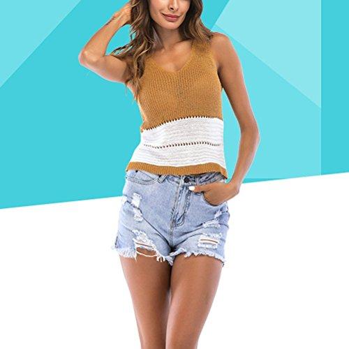 Khaki XL maniche maniche costine V senza donna a Top a a con profondo scollo con senza Top FENICAL V scollo UZnH1