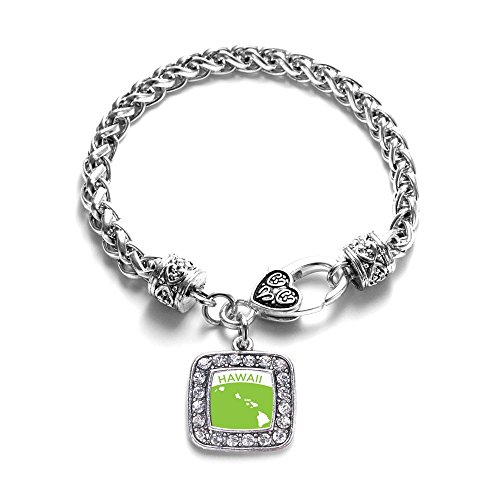 Love Hawaii (HI) State Classic Silver Plated Square Crystal Charm Bracelet