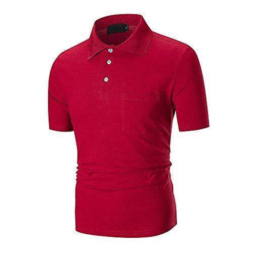 Mens Short Sleeve Polo Shirt Summer Casual Slim Solid Color Pocket Top Blouse Beautyfine ()