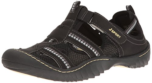 JSport by Jambu Women's Regatta, Black/White Microbuck/Mesh, 9 M