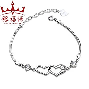 Amazon Com Clover S925 Silver Bracelet Female Simple Sweet Angel