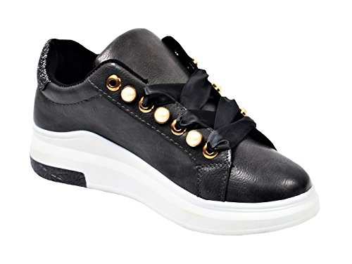 Gnd Damesmode Parel Lint Sneaker # 7656 Zwart