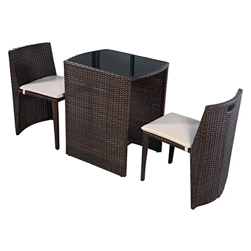 - SHOPPER's CHOICE 3 PC Brown Outdoor Chair Dining Table Restaurant Patio Deck Padded Furniture Set Tempered Glass Top Space Saving Design Cushion Seats Relax Poolside Porch Garden Balcony