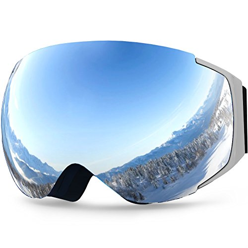 YAKAON Y Series Ski Goggles Snowboard Frameless Spherical UV400 Protection Anti-fog Detachable REVO Mirror Lens for Men and Women Skiing Snowboarding