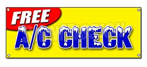 FREE A/C CHECK BANNER SIGN Air Conditioning Diagnosis Repair Cold Freon Ice Ac Signs - Sticker Graphic - Auto, Wall, Laptop, Cell Sticker