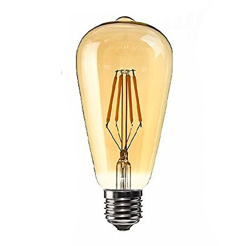 SODIAL(R) Dimmable E27 4W Edison Retro Vintage Filament ST64 COB LED Bulb Light Lamp Body Color:Golden Cover Light Color:Gold Yellow (2200K) Voltage:220V