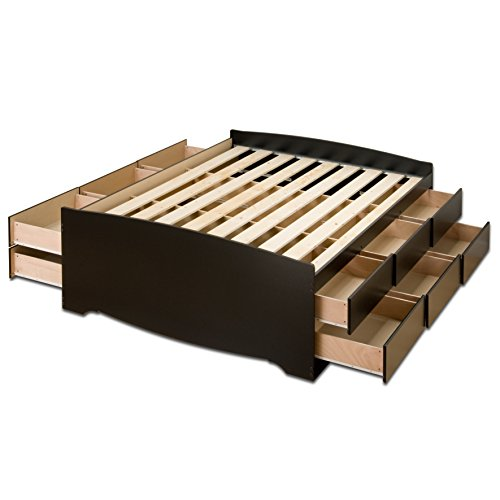 Black Tall Queen Captain's Platform Storage Bed with 12 Drawers - Tall Storage Platform Bed
