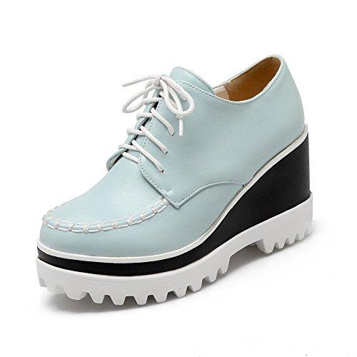 Pu Con Nodo Con Rotonda Donne scarpe Il Punta Delle Lacci Solida Chiusa Frizione talloni Blu Allhqfashion Pompe Alto HvBdFdq