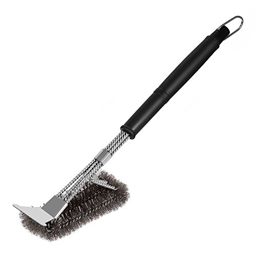 Coralov Grill Brush and Scraper, BBQ Brush for Grill 3-IN-1 18'' Stainless Steel Bristles Triple Scrubber Barbecue Grill Cleaning Brush for Weber Gas/Charcoal Grilling Grates