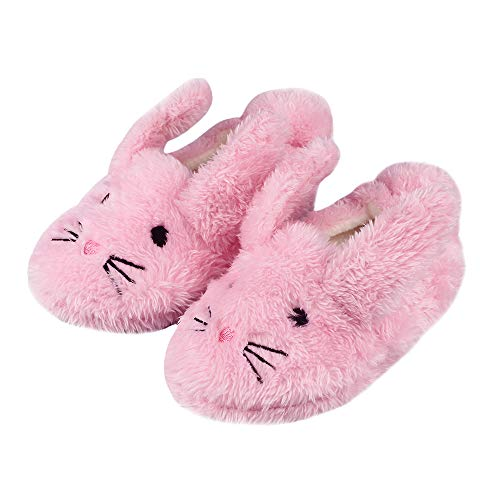 Boys Girls Plush Warm Cute Bunny House Slippers Fuzzy Indoor Bedroom Shoes for Toddler Kids Pink 7-8 M ()