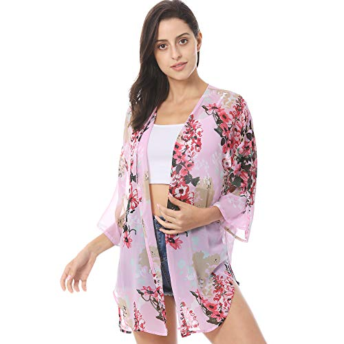 Women's Cardigans Floral Print Kimono Sheer Chiffon Beach Cover Up Casual Blouse Tops Pink