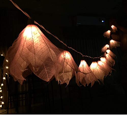 Thai Decor 20 LED Natural Leaf Soft Pink Flower Window Curtain String Light Wedding Party Home Garden Bedroom Outdoor Indoor Wall Decorations, Warm White