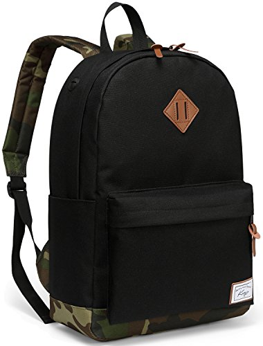 School Backpack for Men, Kasqo Water-Resistant Classic School Bookbag Fits 14 inch Laptop Casual Daypack for Teenagers Black and Camo -