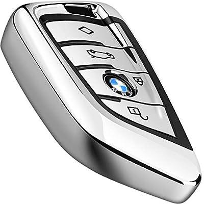 Intermerge for BMW Key Fob Cover,Key Fob Case for BMW X1 X3 X5 X6 and BMW Series 1 2 5 7 Smart Remote Premium Soft TPU BMW Key Cover (Silver): Automotive