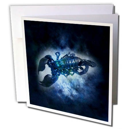 3dRose Zodiac Signs - Image of Blue Cancer Sign For June And July - 6 Greeting Cards with envelopes (gc_255482_1) by 3dRose