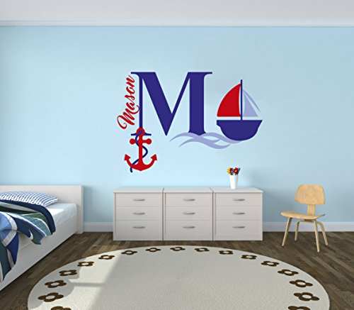 Series Boat Decals (Custom Name & Initial Blue Red Sailboat Anchor - Nautical Series - Baby Boy Girl Decoration - Mural Wall Decal Sticker For Home Interior Decoration Car Laptop (M522) (Wide 30