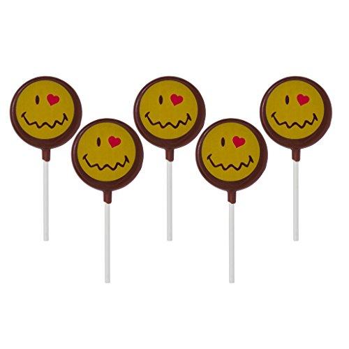 Smiley World Emoji Face Expressions Dairy Milk Chocolate Lollipops Sucker