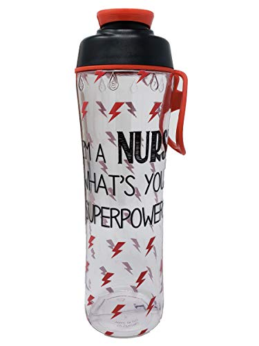 50 Strong Nurse Water Bottle - BPA Free 24 oz. w/Carry Loop & Chug Cap - Great Gift for Nurses, RN, or Nursing Graduation for Birthday, Thank You, Christmas or Graduate (Nurse Superpower, 24 oz.)