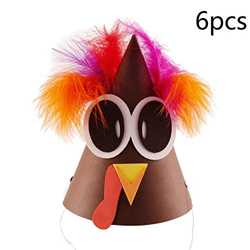 6-Pack Turkey Craft Kit-Feather Thanksgiving DIY Paper Turkey Headdress Turkey Hat Crafts for Kids & Decoration Crafts, A Style]()