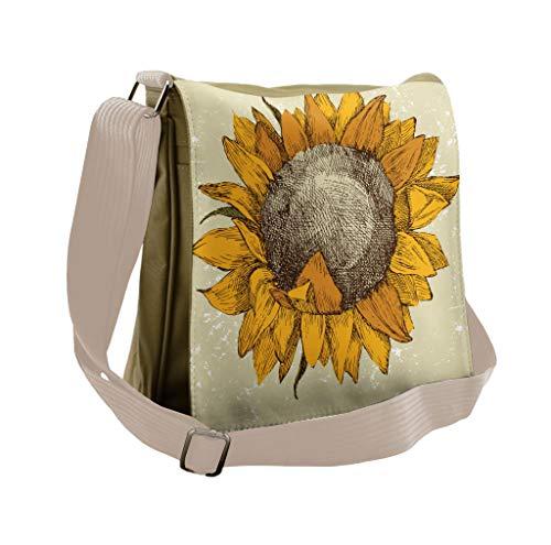 Lunarable Sunflower Messenger Bag, Vintage Grungy Flourish, Unisex Cross-body]()