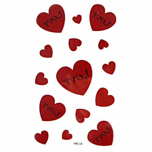 MapofBeauty Red Love Heart-shaped Waterproof Temporary Tattoo Paper Sticker 2 Sheets Per Pack