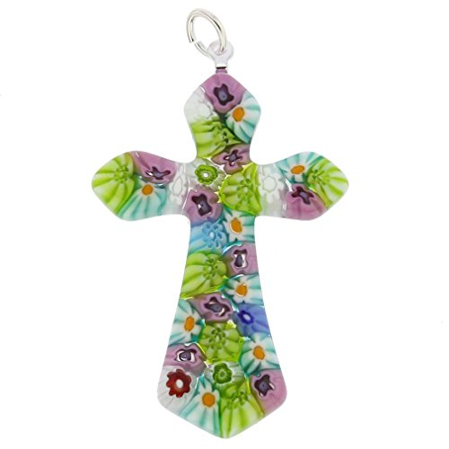 GlassOfVenice Murano Glass Multicolor Millefiori Elegant Cross - Color Cross Multi