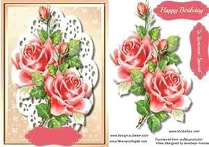 Hermoso color rosa rosas en encaje, by Ceredwyn Macrae